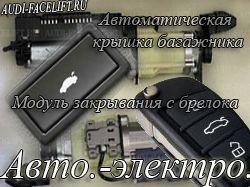 Автоматические и электроприводы  Автономный отопитель, автоматическая крышка багажника, электро складывающие зеркала и др. авто-электро опции Ауди.